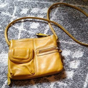 Tignanello mustard crossbody leather